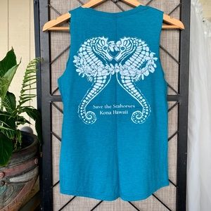 Tops - Save the Seahorses Hawaii Turquoise Tank Small